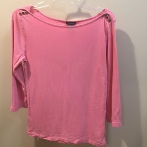 Ann Taylor Coral boatneck top with button detail
